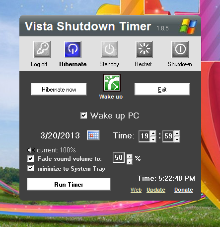 how to set shutdown on windows vista